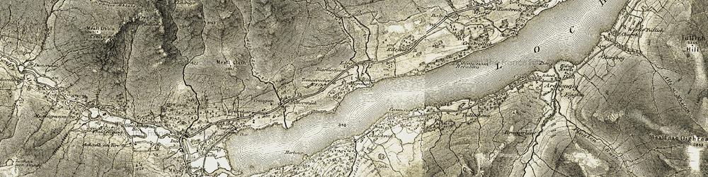 Old map of Allt a' Mhoirneas in 1906-1908