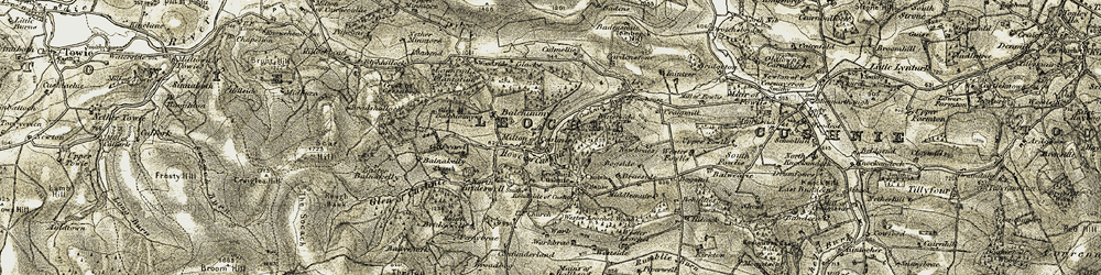 Old map of Wester Fowlis in 1908-1909