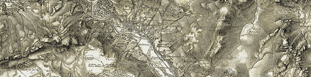 Old map of Tomdachoille in 1907-1908