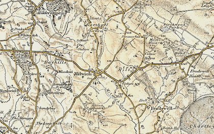 Old map of Wheatlow Brook in 1902