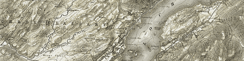 Old map of Achagoyle Bay in 1906-1907