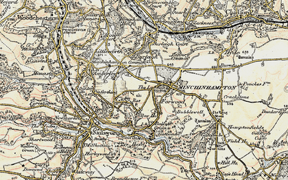 Old map of Minchinhampton in 1898-1900