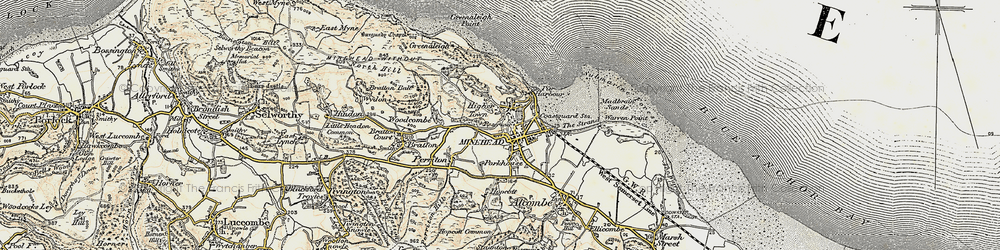 Old map of Minehead in 1899-1900