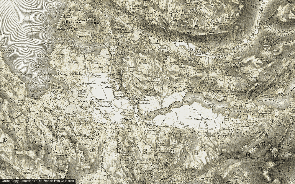Old Map of Historic Map covering Allt an Dèabh in 1906-1908