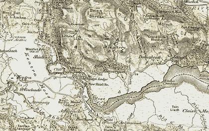 Old map of Allt an Dèabh in 1906-1908