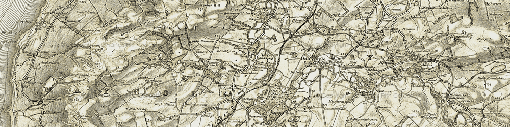 Old map of Woodland in 1904-1906