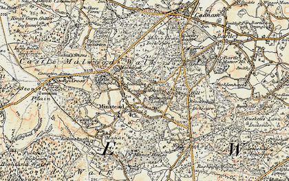 Old map of Minstead in 1897-1909