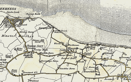Old map of Minster in 1897-1898