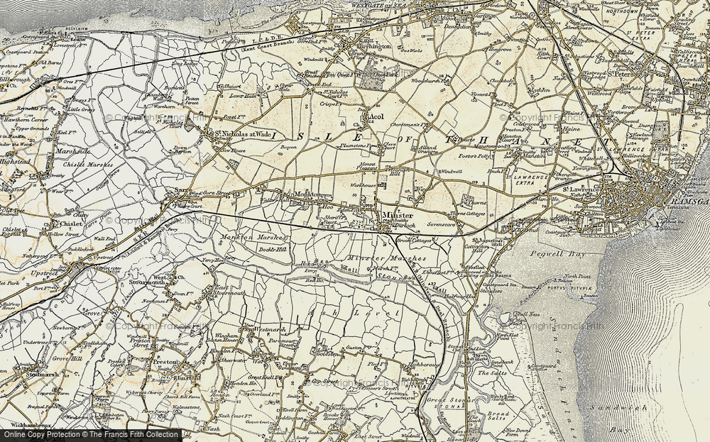 Old Map of Historic Map covering Abbot's Wall in 1898-1899