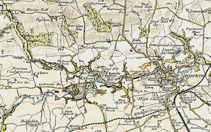 Old map of Mitford in 1901-1903