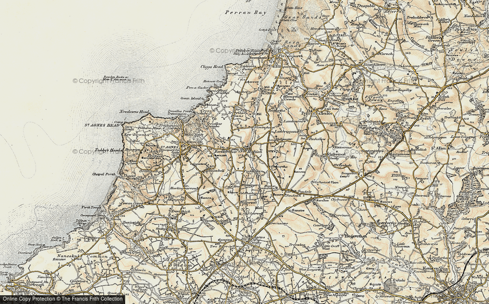 Old Map of Mithian, 1900 in 1900