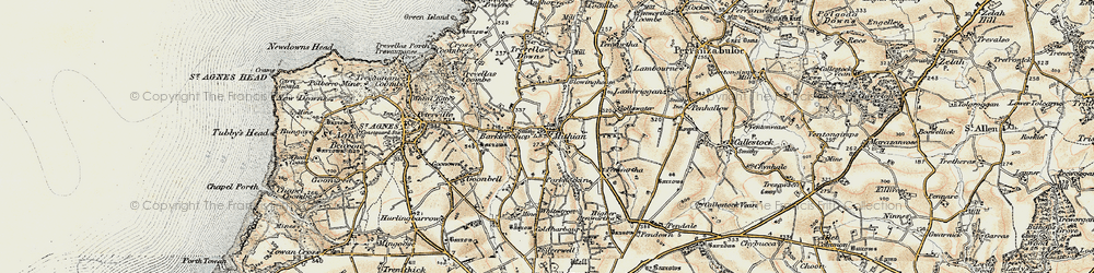 Old map of Mithian in 1900