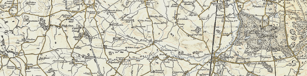 Old map of Mitton in 1902
