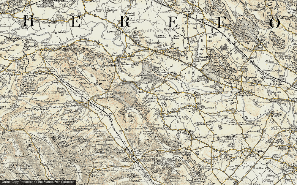 Old Map of Historic Map covering Woodbury Hill Wood in 1900-1901