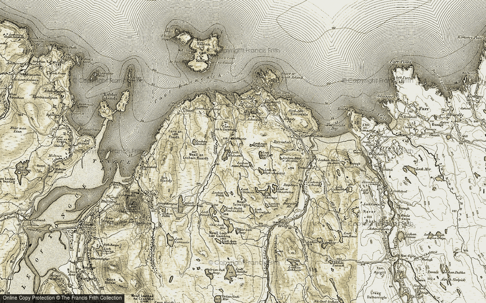 Old Map of Historic Map covering Alltan Dearg in 1910-1912