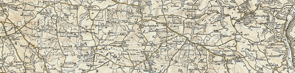 Old map of Witheridge Moor in 1899-1900