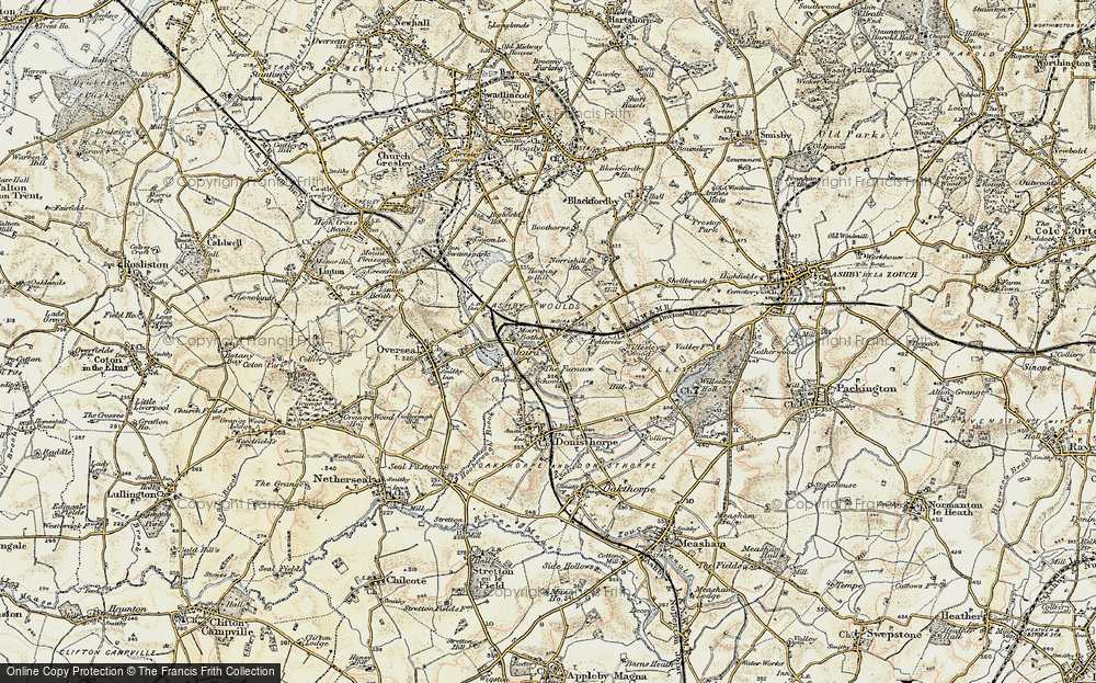 Old Map of Historic Map covering Ashby-de-la-Zouch Canal in 1902-1903