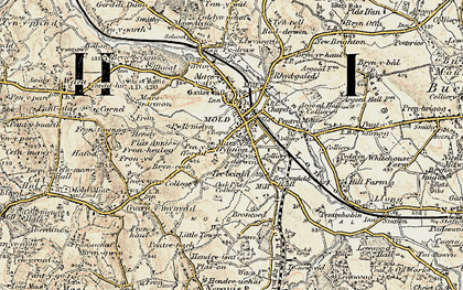 Old map of Mold in 1902-1903