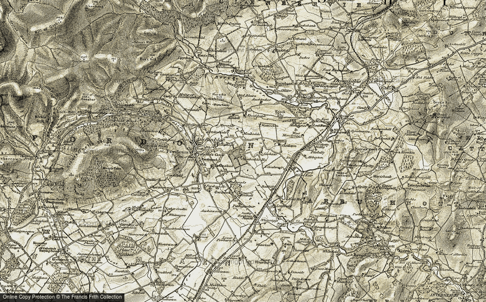 Old Map of Historic Map covering Abbeyton in 1908-1909