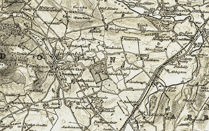 Old map of Abbeyton in 1908-1909