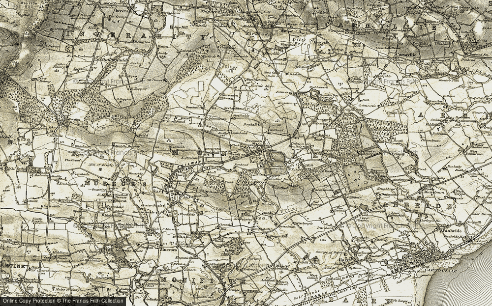 Old Map of Historic Map covering Affleck Castle in 1907-1908