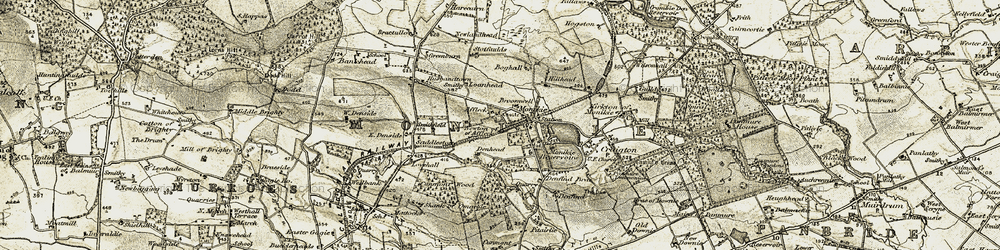 Old map of Affleck Castle in 1907-1908