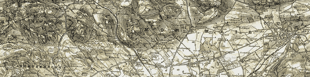 Old map of Monimail in 1906-1908