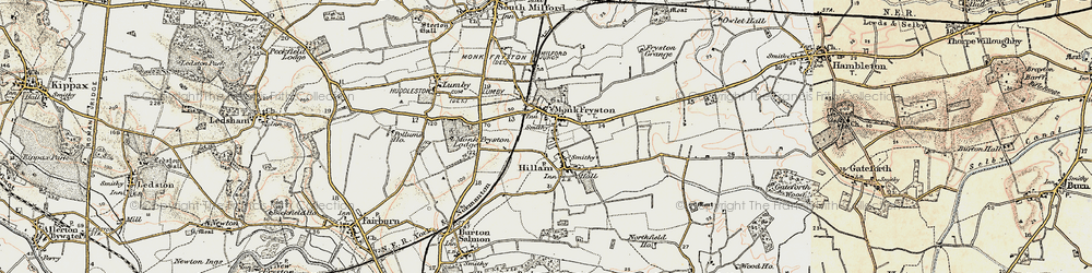 Old map of Monk Fryston in 1903