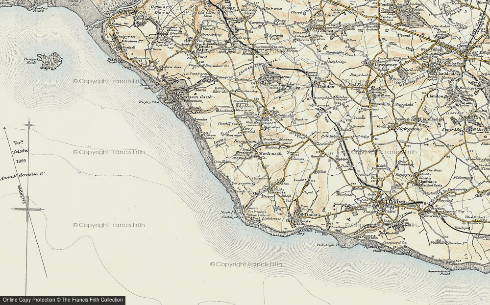 Old Map of Monknash, 1899-1900 in 1899-1900