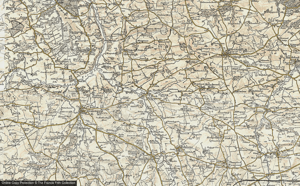 Old Map of Historic Map covering Wood Barton in 1899-1900