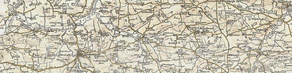 Old map of Wood Barton in 1899-1900