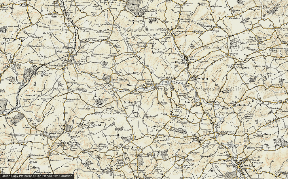 Old Map of Monks Eleigh, 1899-1901 in 1899-1901