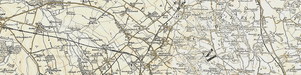 Old map of Monks Risborough in 1897-1898