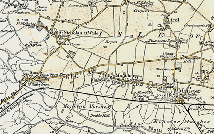 Old map of Monkton in 1898-1899