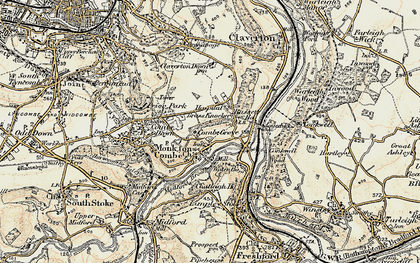 Old map of Monkton Combe in 1898-1899