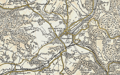 Old map of Monmouth in 1899-1900