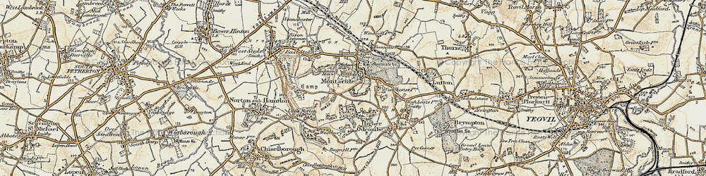 Old map of Montacute in 1899