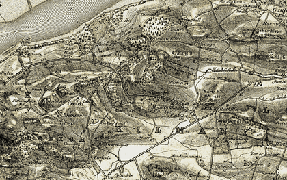 Old map of Montquhanie in 1906-1908