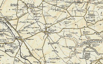 Old map of Monyash in 1902-1903