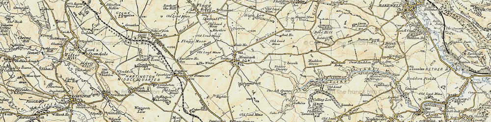 Old map of Monyash in 1902-1903