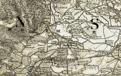 Old map of Auchravie in 1908-1910