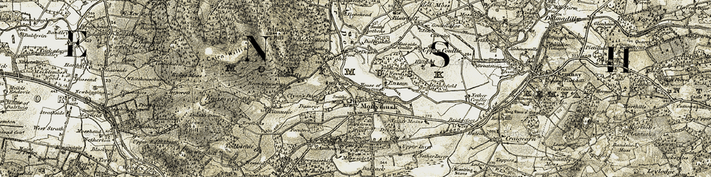 Old map of Monymusk in 1908-1910