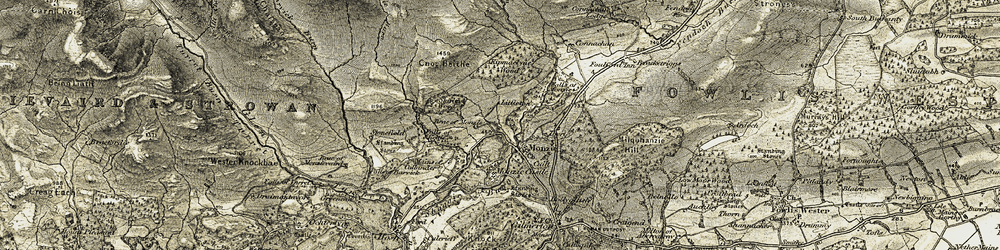 Old map of Monzie in 1906-1907