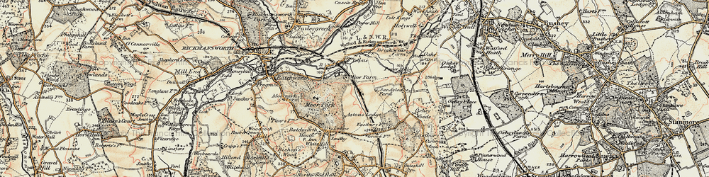Old map of Tolpits Ho in 1897-1898