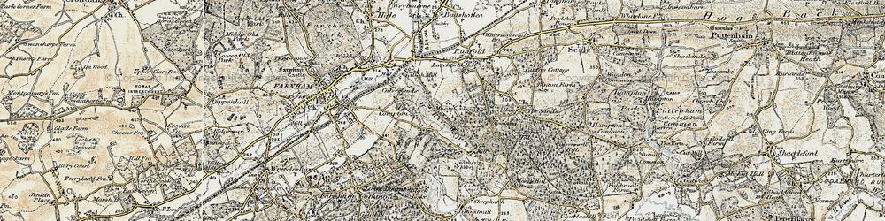 Old map of Waverley Abbey in 1898-1909