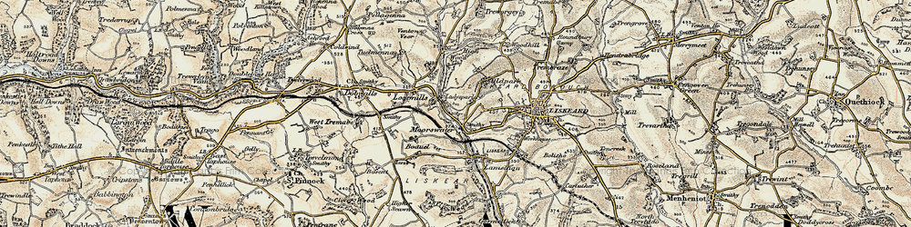 Old map of Moorswater in 1900