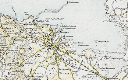 Old map of Ynys Peibio in 1903-1910
