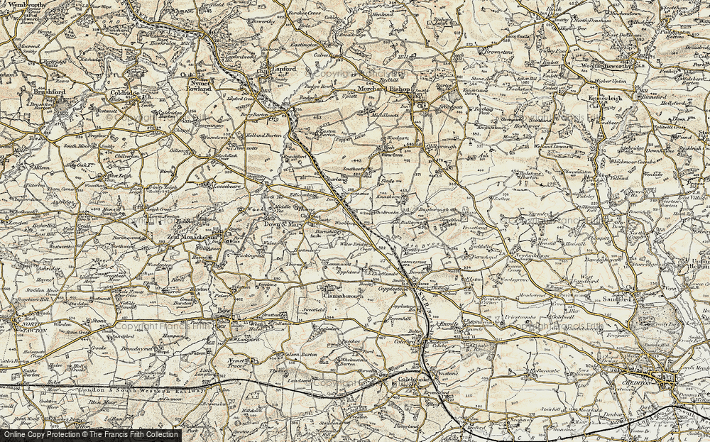 Old Map of Historic Map covering Woodparks in 1899-1900