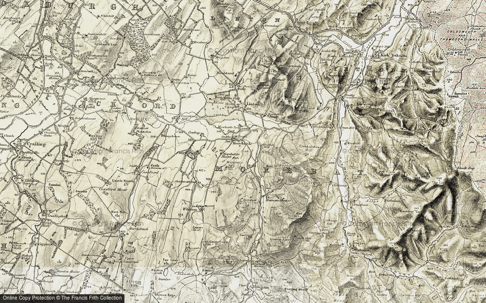 Old Map of Historic Map covering Linton Burnfoot in 1901-1904