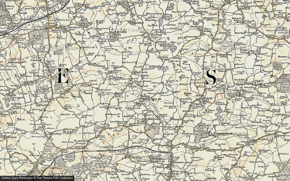 Old Map of Historic Map covering Ashlings Cottages in 1898